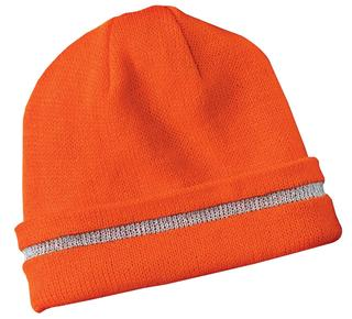 CornerStone® - Enhanced Visibility Beanie with Reflective Stripe.-Promotional