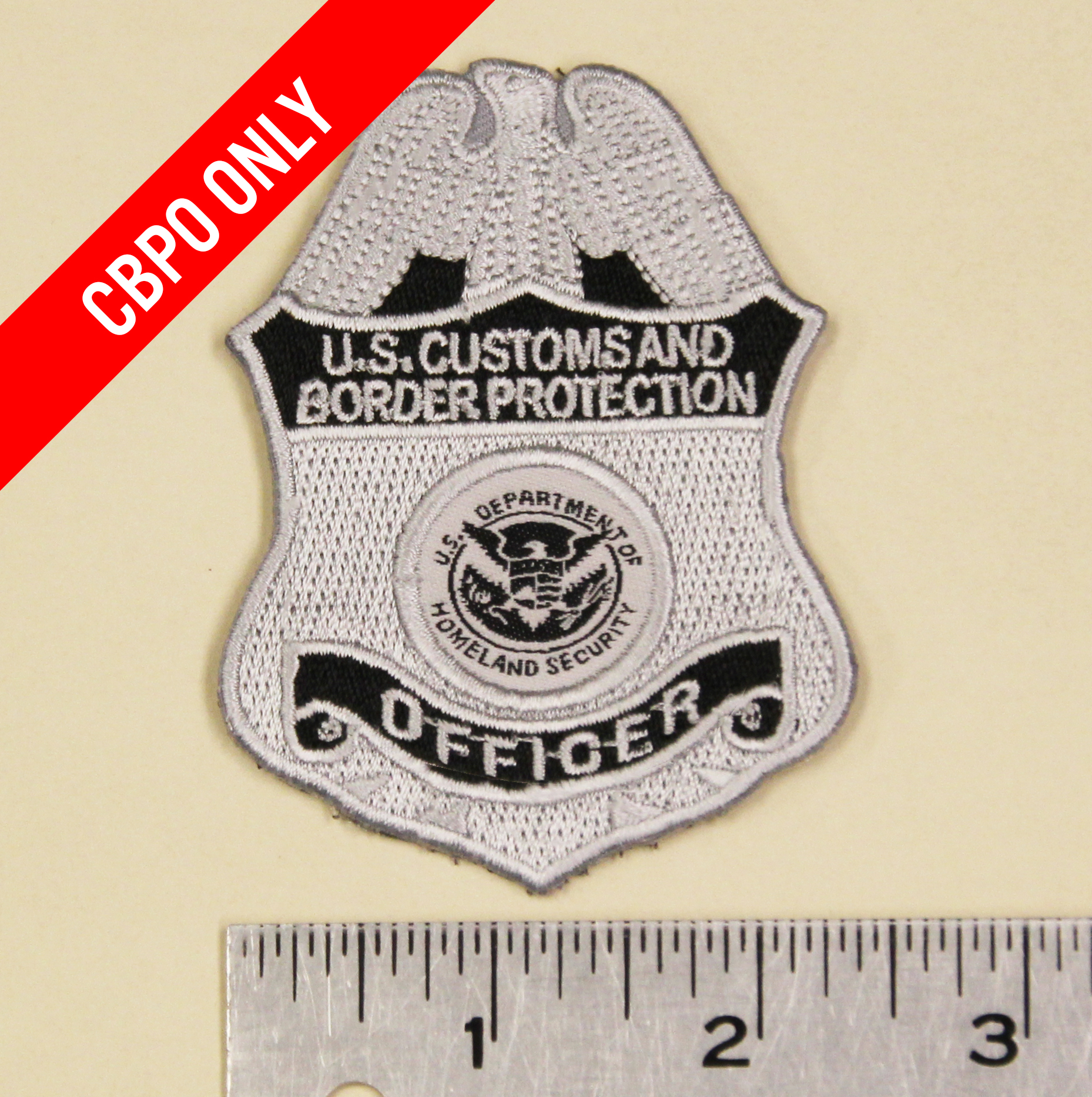 US Customs and Border Protection Officer Badge Patch (Silver) w/ velcro-Nogales Tactical