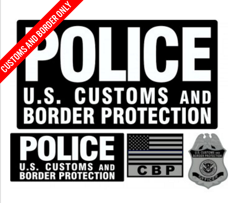 Police US Customs and Border Protection Patch Set w/ Velcro-