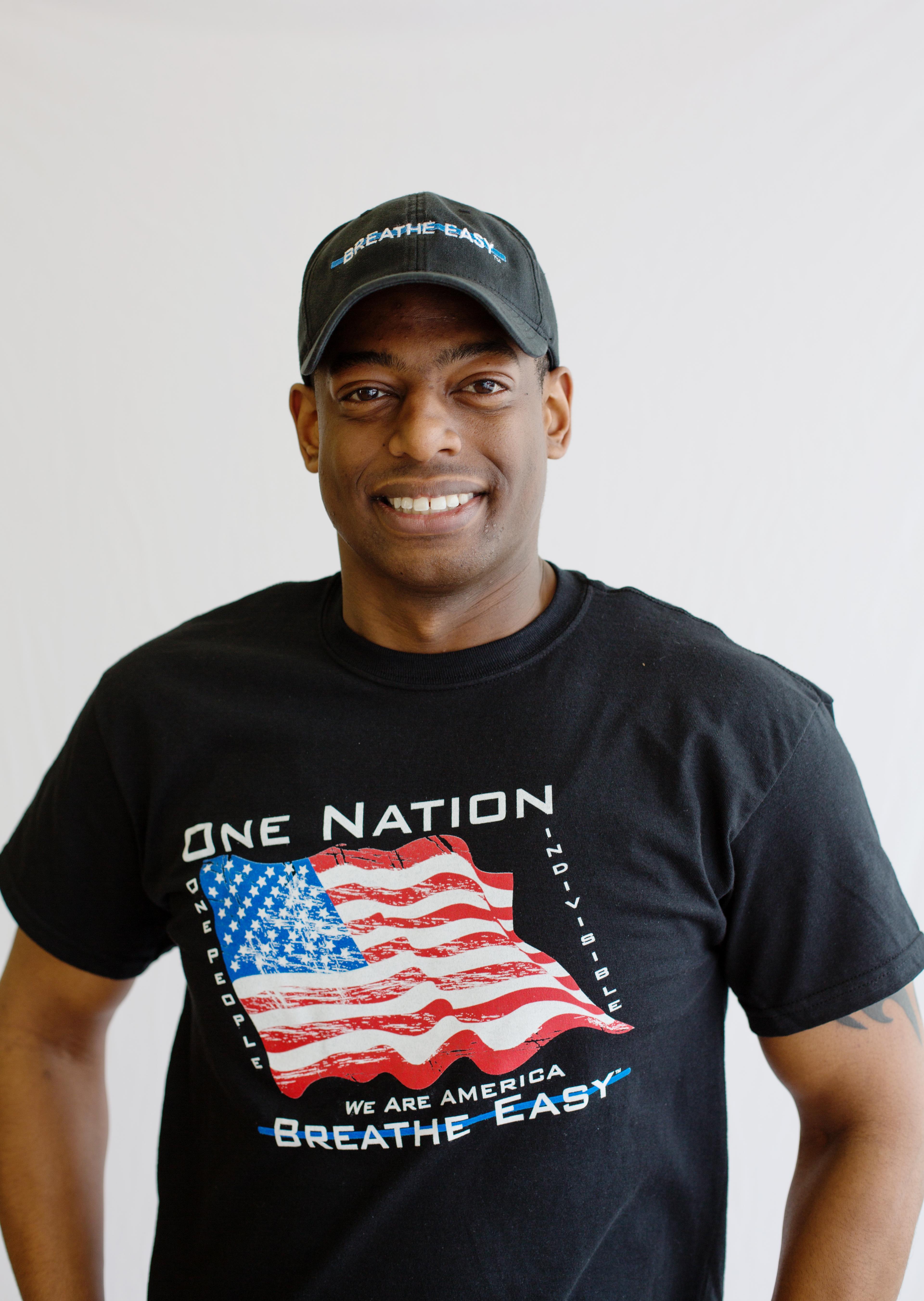 Breathe Easy™ One Nation Flag T-Shirt - Black