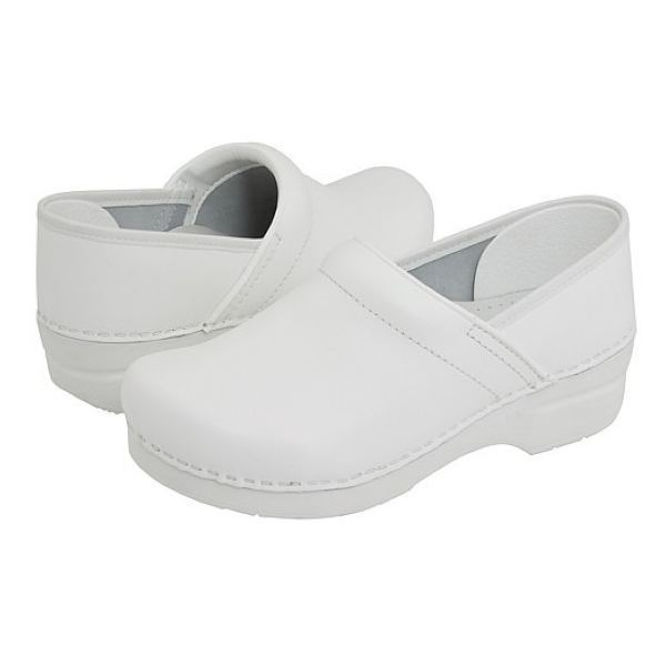 Dansko Professional Box Leather Clog - White