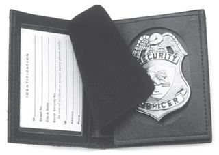Badge & ID case with shield cutout-