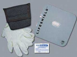 CPR Lifeshield, gloves, wipe and case-