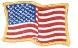 Wavy Flag Patch, Gold Border-