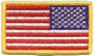 Usa Flag Patch, Reverse, Gold With Velcro-