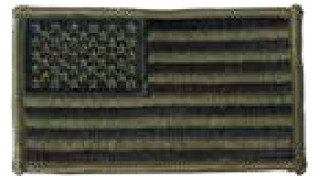 Usa Flag Patch, Reverse, Olive Drab/Blk Velcro-