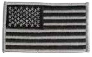 Usa Flag Patch, Reverse, Silver And Black-