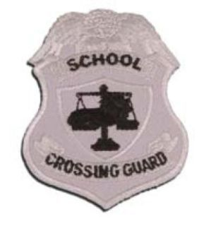 School Crossing Guard Badge Patch, Silver-