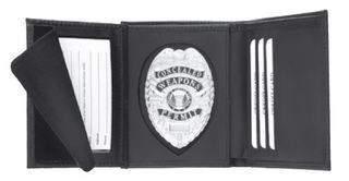 Hidden Badge RFID Wallet, Round Cut-