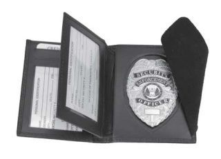 Hidden badge and ID wallet, shield cut-