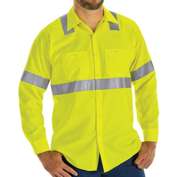 Hi-Visibility Ripstop Long Sleeve Work Shirt:  Class 2 Level 2