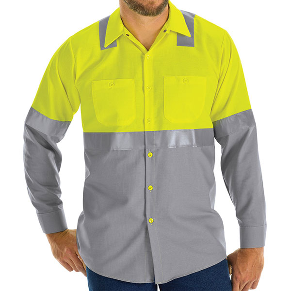 Hi-Visibility Long Sleeve Color Block Work Shirt:  Class 2 Level 2