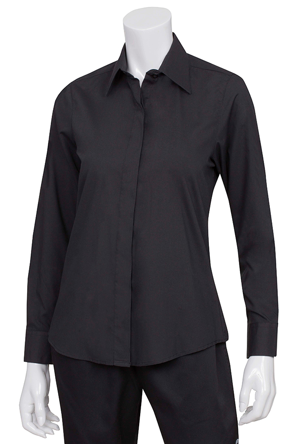 Black Women's Basic Dress Shirt