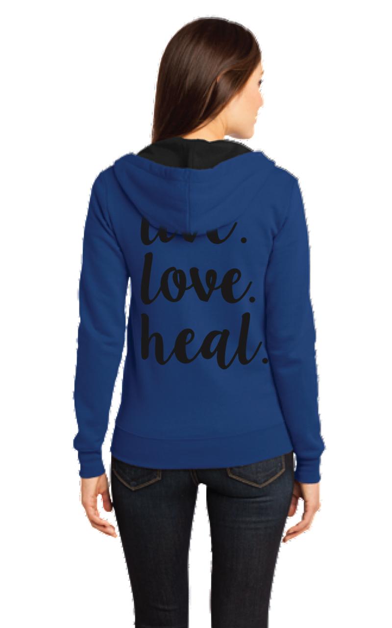 """Live Love Heal"" zip up hoodie-DGG Healthcare Collection"