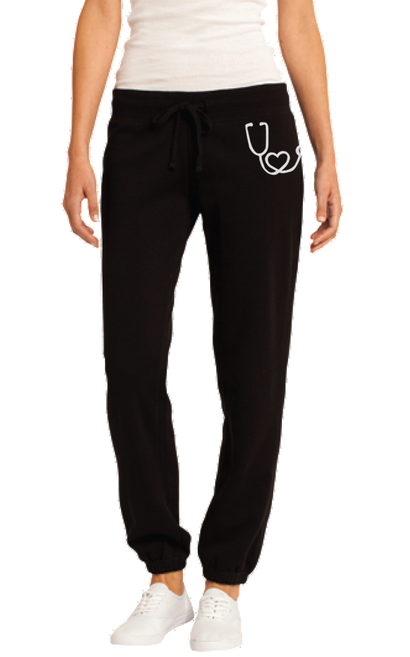 Heart Stethoscope graphic sweatpants-DGG Healthcare Collection