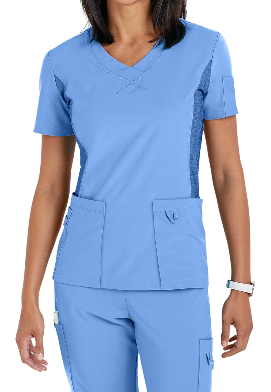 Urbane Performance Curved V-Neck Scrub Top With Knit Panel
