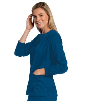 Womens All Day Snap Front Warm Up Scrub Jacket-Landau