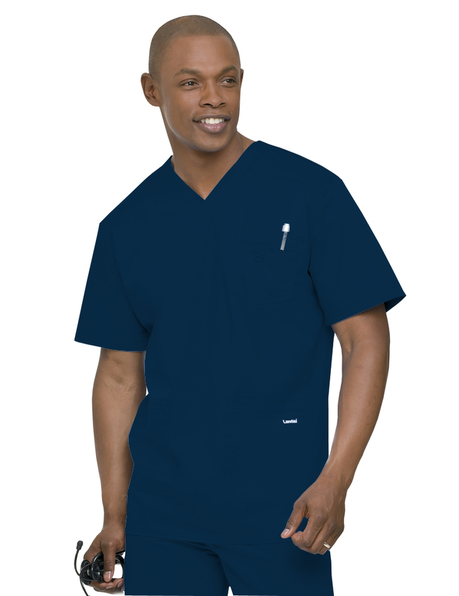 Landau Smart Stretch Men's 4-Pocket Scrub Top-Landau