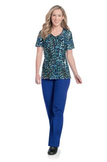 Landau Notched Sleeve V-Neck Scrub Top-Landau
