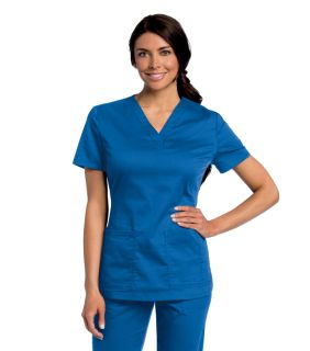 All Day Ladies 2 Pocket Y Neck Scrub Top - 4143-Landau