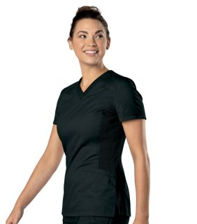 Womens Knit Panel V Neck Top-