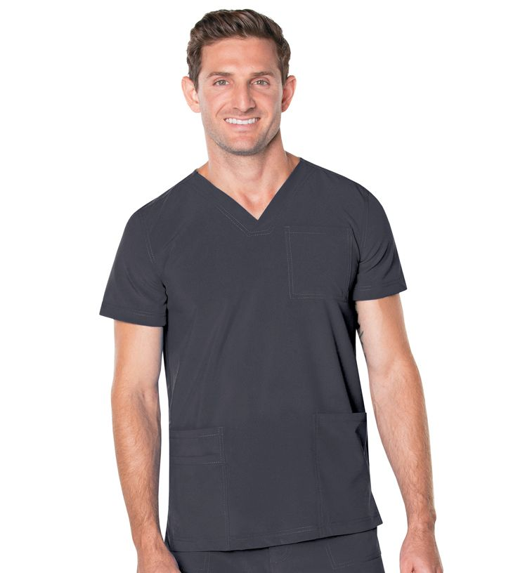 Landau Landau Mens Medical Proflex Mens V Neck 4 Pocket Top-Landau