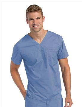 Landau Mens Pre-Washed V-Neck Tunic Scrub Top-