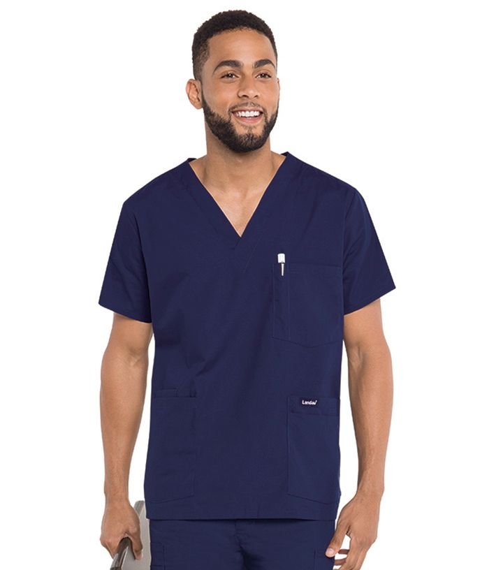 7489 Landau Men's 5 Pocket Scrub Top-Landau