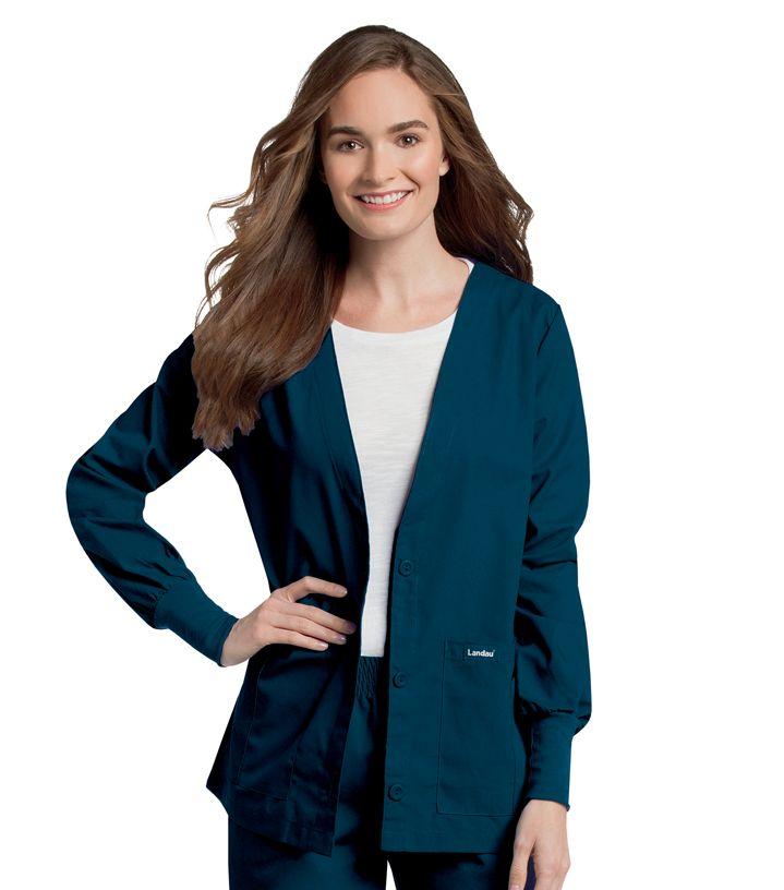 7535 Landau Cardigan V-Neck Warm-Up Jacket w/Knit Cuffs-Landau