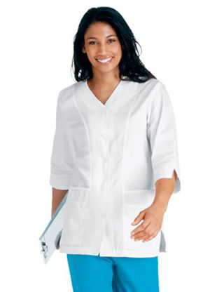 Labcoat 3/4 Length Sleeve Pintuck Detail