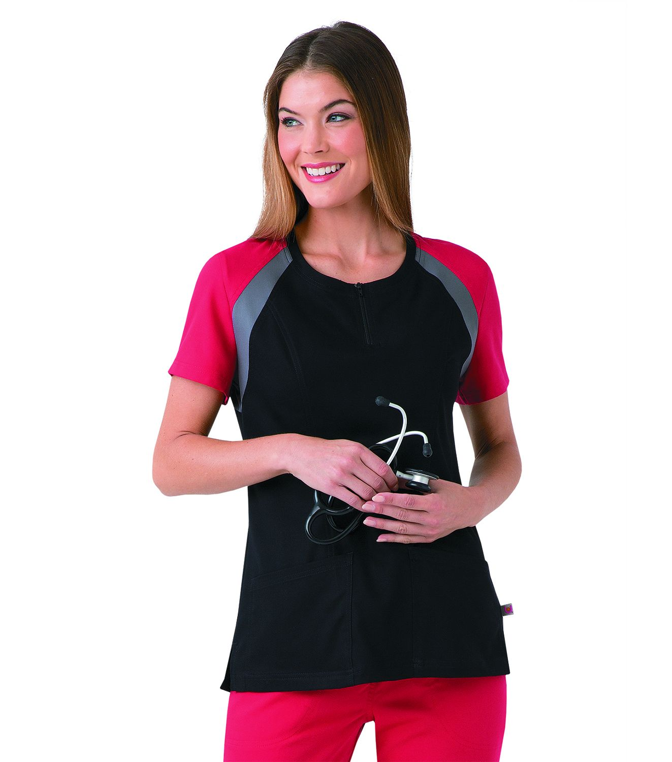 Womens Ultimate Colorblock Top With Zip Front-