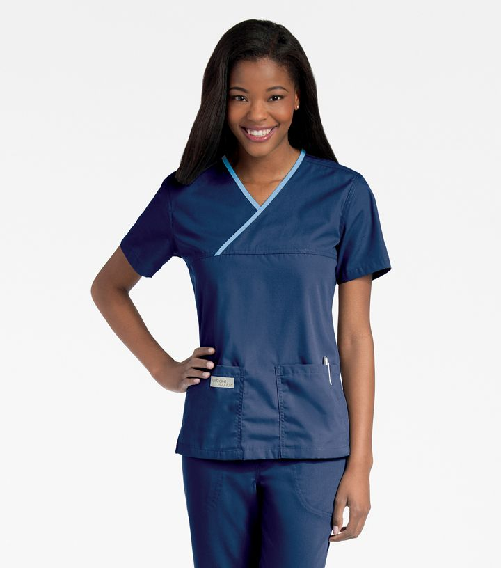 9534 Double Pocket Crossover Top by Urbane Scrubs-Urbane
