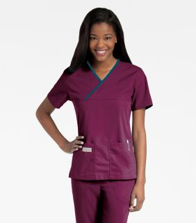 Urbane Double Pocket Crossover Scrub Top-