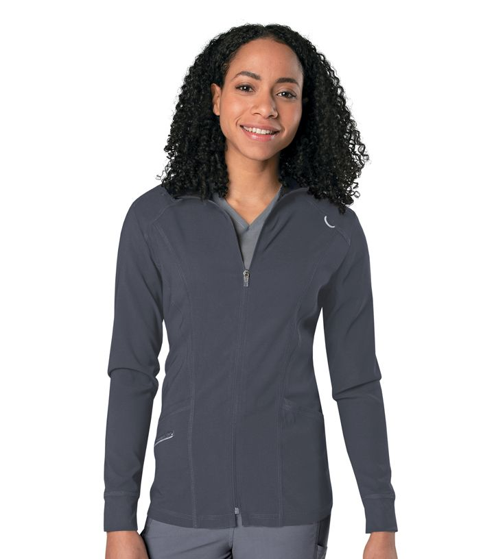 Womens Zip Front Mock Neck Warm Up Jacket-