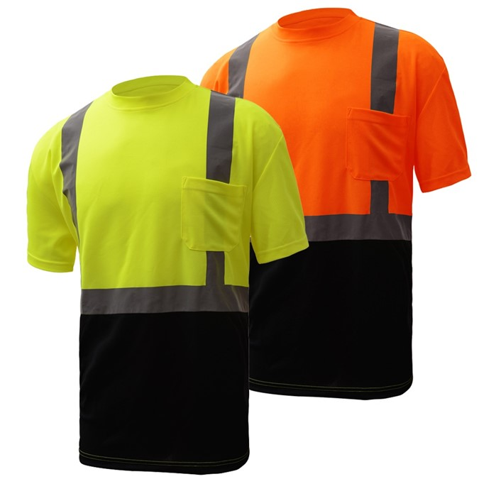 Hi-Vis ANSI Class 2 Safety T-Shirt with Black Bottom-GSS Safety