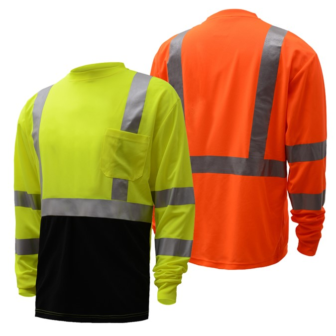 Hi-Vis ANSI Class 3 Long Sleeve T-Shirt with Black Bottom-GSS Safety