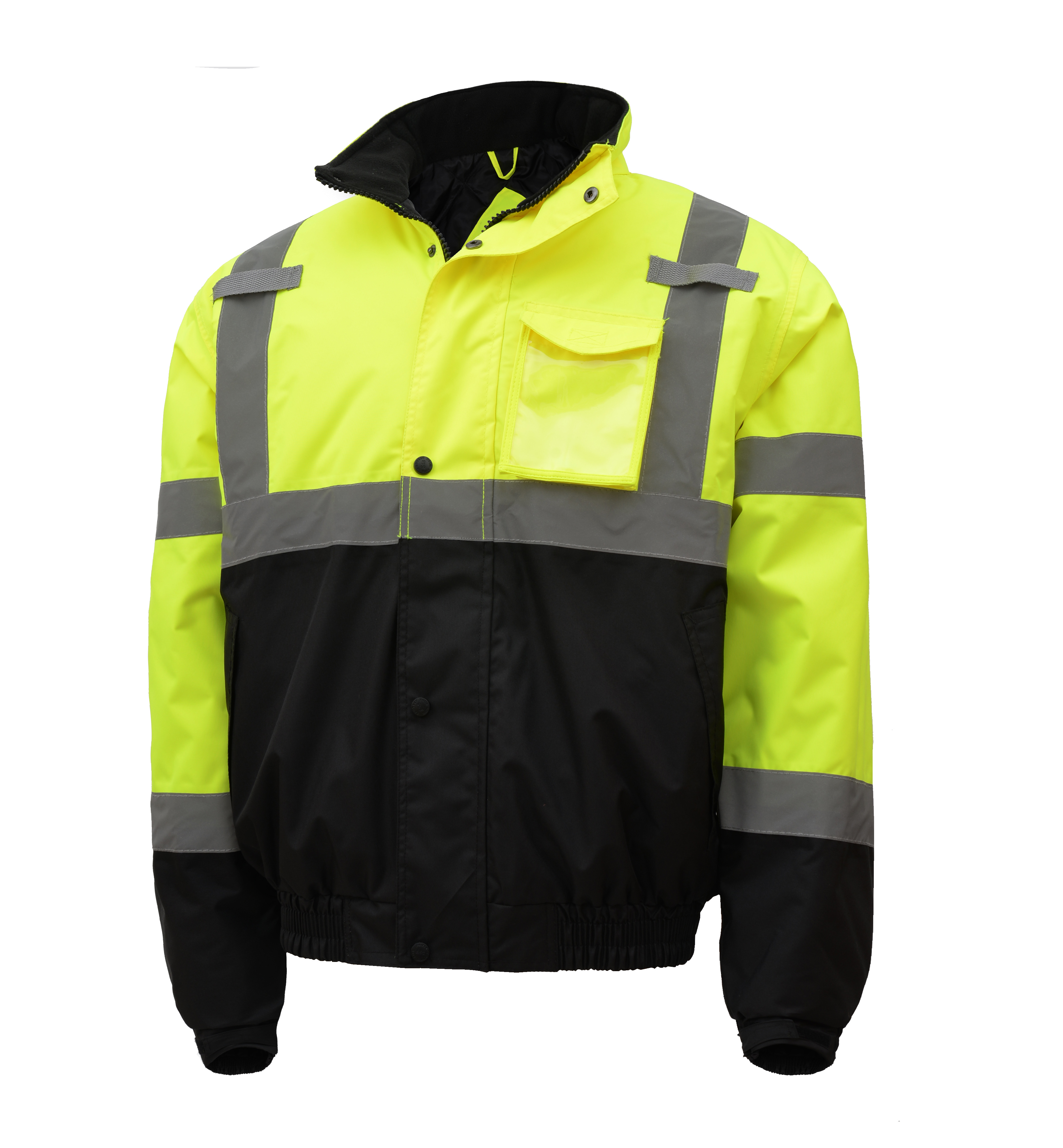 Hi-Vis Yellow Two-Tone Class 3 Waterproof Quilt-lined Bomber Safety Jacket-