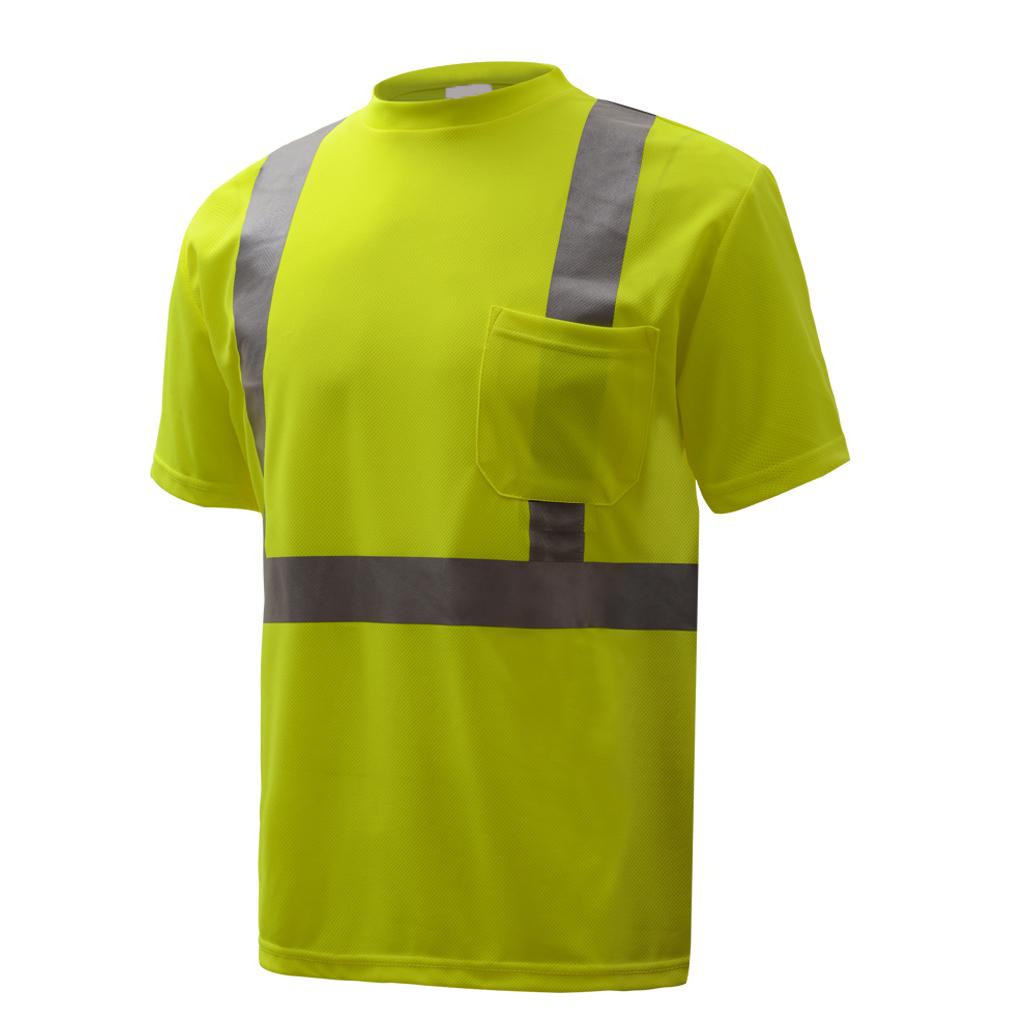 Hi-Vis ANSI Class 2 Moisture Wicking Short Sleeve T-Shirt w/Pocket-GSS Safety
