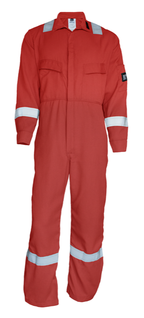 7 oz Red FR Coverall w/ reflective tape and Helix Robotics front and back logos-Renegade FR