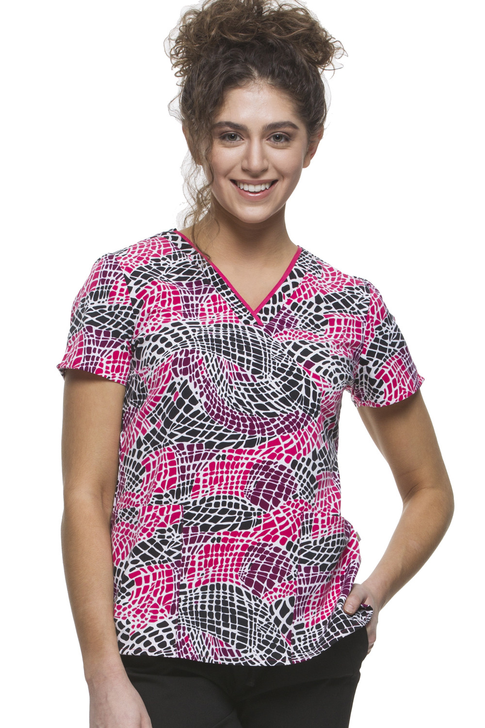 Amanda V-Neck Mosaic Scrub Top-Healing Hands Scrubs
