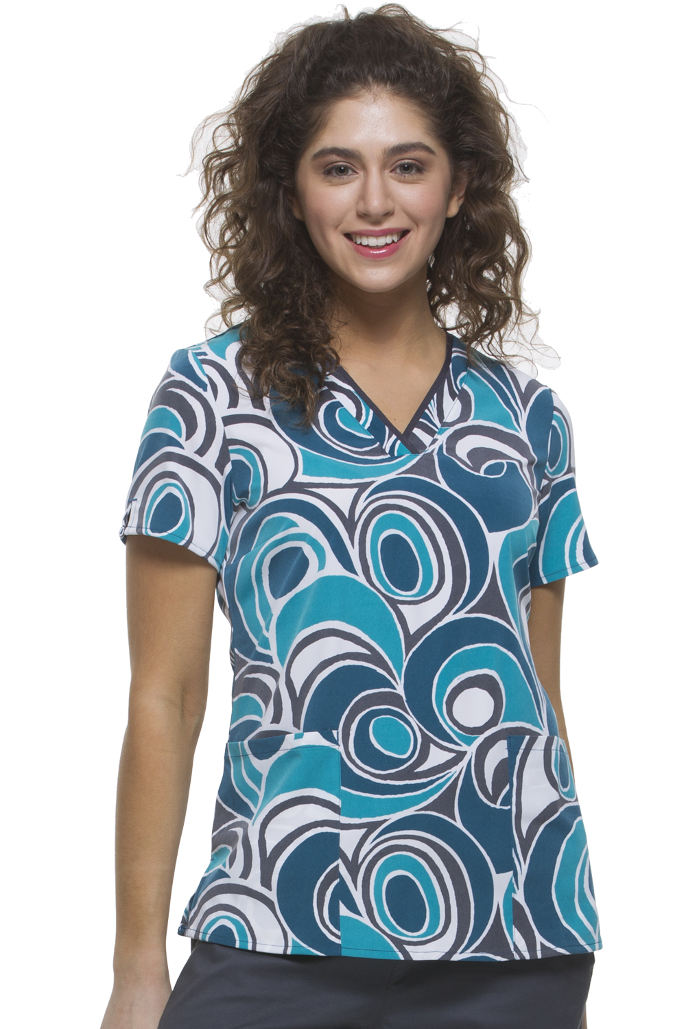 Amanda V-Neck Unique Swirl Scrub Top-Healing Hands Scrubs