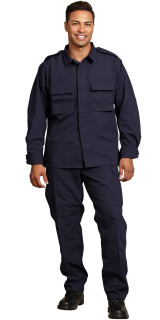 MENS NAVY P/C RIPSTOP BDU LS SHIRT/2 POCKET-SU - SECURITY