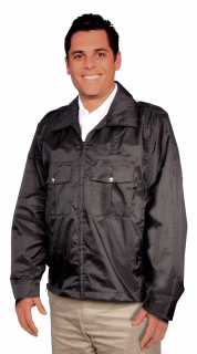 UNI BLACK WINDBRKR JACKET/LND/SIDE VENT/ZIP-SU - SECURITY