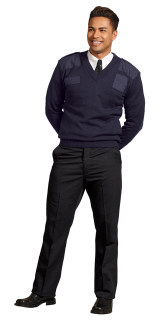 UNI NAVY PILTROL V-NK CMNDO KNIT SWEATER-SU - SECURITY