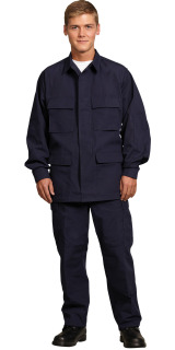 MENS NAVY P/C RIPSTOP BDU LS SHIRT/4 POCKET-SU - SECURITY
