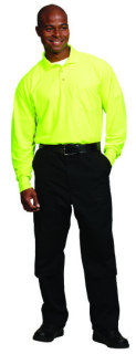 UNISEX HI VIS YELLOW LS KNIT SHIRT/POCKET-SU - SECURITY