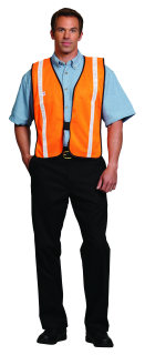 UNISEX ORANGE MESH HI VIZ SAFETY VEST-SU - SECURITY
