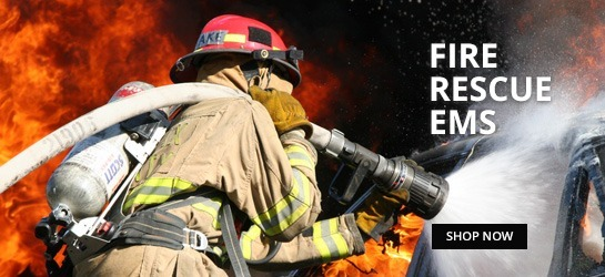 Fire rescue ems, shop now. Man in brown jacket and red helmet holding black and gray rifle