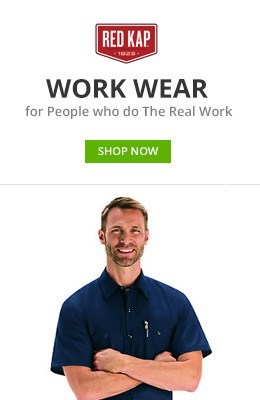 Red kap, work wear for people who do the real work, shop now. Man in blue zip up jacket smiling