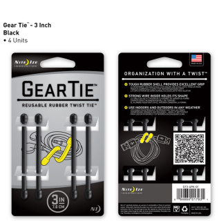"""Nite Ize Gear Tie 3"""" (Pack of 4)-Maxpedition"""